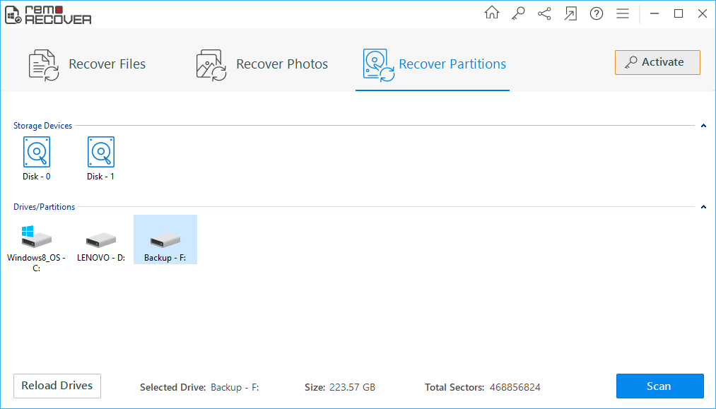 Drive Recovery Software - Select Recovery Mode