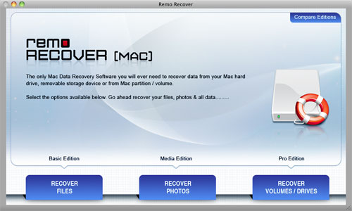 Macintosh Drive Recovery Software - Mac Main Screen